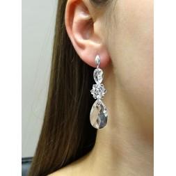 Kolczyki srebrne ślubne z kryształami Swarovski® KR129 crystal