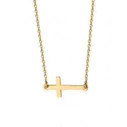 Naszyjnik KRZYŻ pozłacany 24K złotem, celebrytka