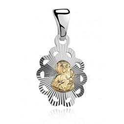 Medalik pozłacane srebro Matka Boska z Dzieciątkiem