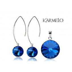 Biżuteria srebrna rybki z kryształami Swarovski® Rivoli Szafir KP66