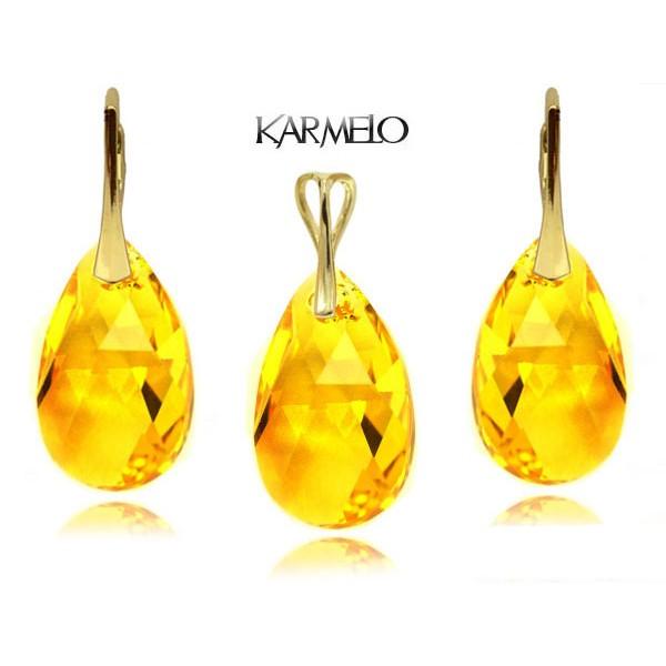Komplet migdały z kryształami Swarovski® Złocony Light Topaz KP67