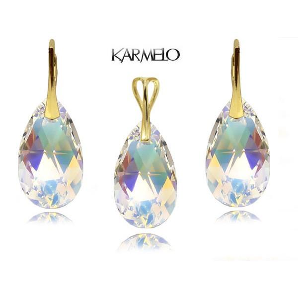 Komplet migdały z kryształami Swarovski® Pozłacany AB KP67