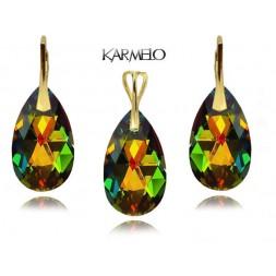 Komplet migdały z kryształami Swarovski® Pozłacany VM