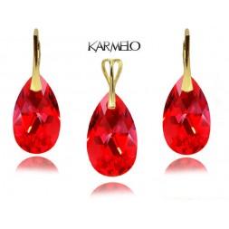 Komplet migdały z kryształami Swarovski® Złocony Light Siam Czerwony KP67