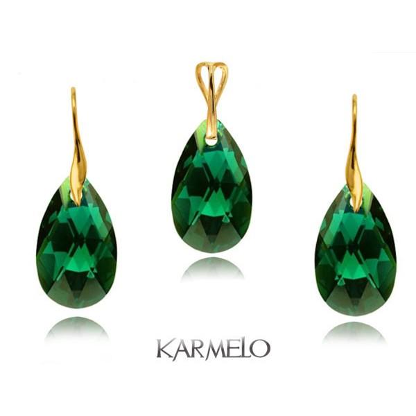 Komplet migdały z kryształami Swarovski® Złocony szmaragdowy KP67