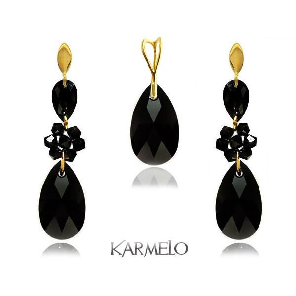 Komplet biżuterii z kryształami Swarovski® pozłacany czarny KP69