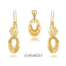 Komplet biżuterii z kryształami Swarovski® pozłacany golden KP71