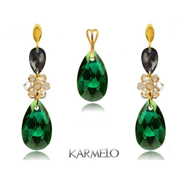 Komplet biżuterii z kryształami Swarovski® pozłacany emerald KP69