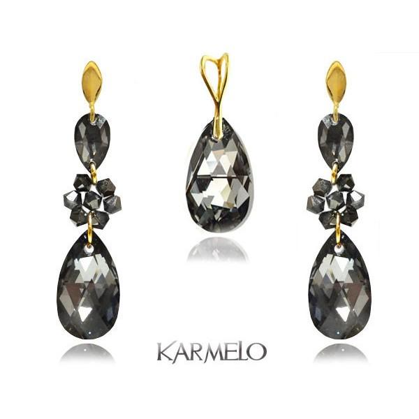 Komplet biżuterii z kryształami Swarovski® pozłacany grafit KP69