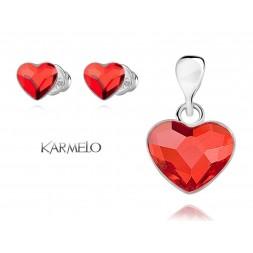 Komplet serca z kryształami Swarovski® czerwony