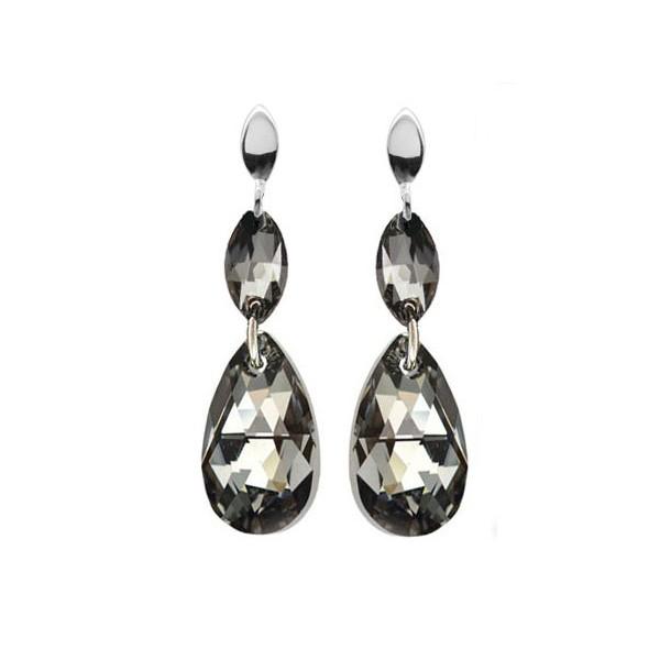 Kolczyki srebrne z kryształami Swarovski® Silver Night KR42