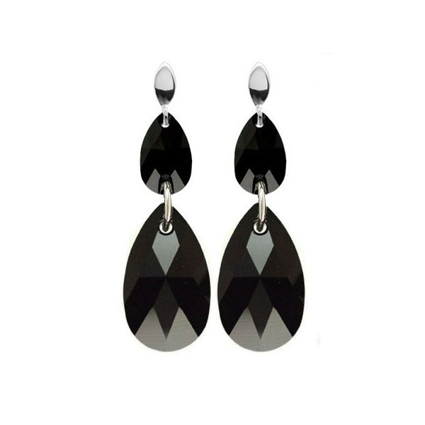 Kolczyki srebrne z kryształami Swarovski® Czarne Jet KR42