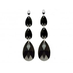 Kolczyki z kryształami Swarovski®  Jet- czarny KR62
