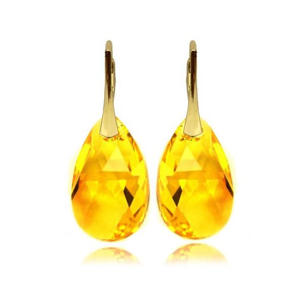 Kolczyki migdały z kryształami Swarovski® Pozłacane Light Topaz  KR67
