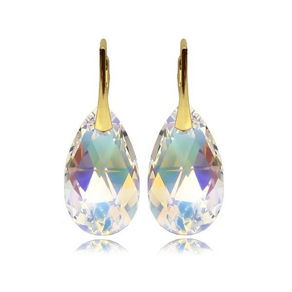 Kolczyki migdały z kryształami Swarovski® Pozłacane AB KR67