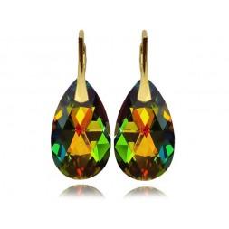 Kolczyki migdały z kryształami Swarovski® Złocone Vitrail Medium