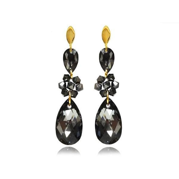 Kolczyki srebrne pozłacane z kryształami Swarovski® KR69
