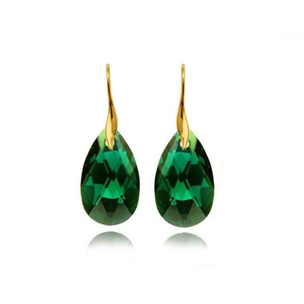 Kolczyki srebrne pozłacane migdały z kryształami Swarovski® szmaragdowe KR67