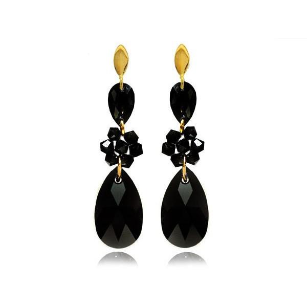 Kolczyki srebrne pozłacane z kryształami Swarovski® czarne KR69
