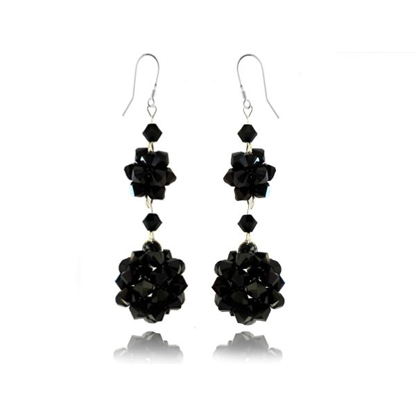 Kolczyki wieczorowe z kryształami Swarovski® KR61 jet- czarne
