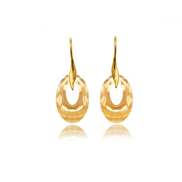 Kolczyki srebrne pozłacane z kryształami Swarovski® golden shadow KR68
