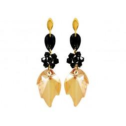 Kolczyki srebrne złocone z kryształami Swarovski® liście KR75