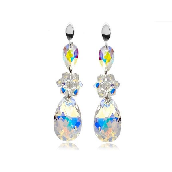 Kolczyki srebrne z kryształami Swarovski® kwiat AB KR69