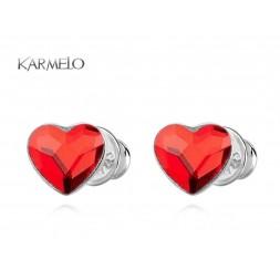 Kolczyki Serca sztyfty z kryształkami Swarovskiego® -czerwone KR76