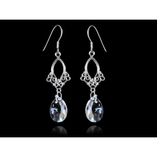 Kolczyki srebrne ślubne z kryształami Swarovski® KR130 crystal