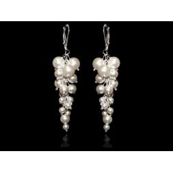 Biżuteria ślubna kolczyki grona 7 cm perły Swarovski® KR135