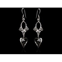 Biżuteria ślubna kolczyki serca z kryształami Swarovski® KR137