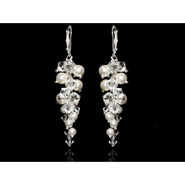 Biżuteria ślubna kolczyki grona 6 cm perły i kryształy Swarovski® KR136