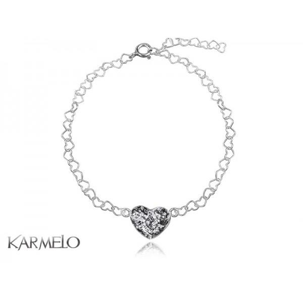 Bransoletka Serce z kryształem Swarovski® grafit BR101