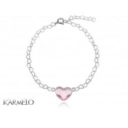 Bransoletka Serce z kryształem Swarovski® pudrowy róż BR101