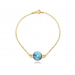 Srebrna bransoletka celebrytka pozłacana 24K złotem z kryształem Swarovski®
