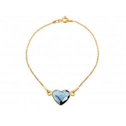 Srebrna bransoletka SERCE celebrytka pozłacana 24K złotem z kryształem Swarovski®