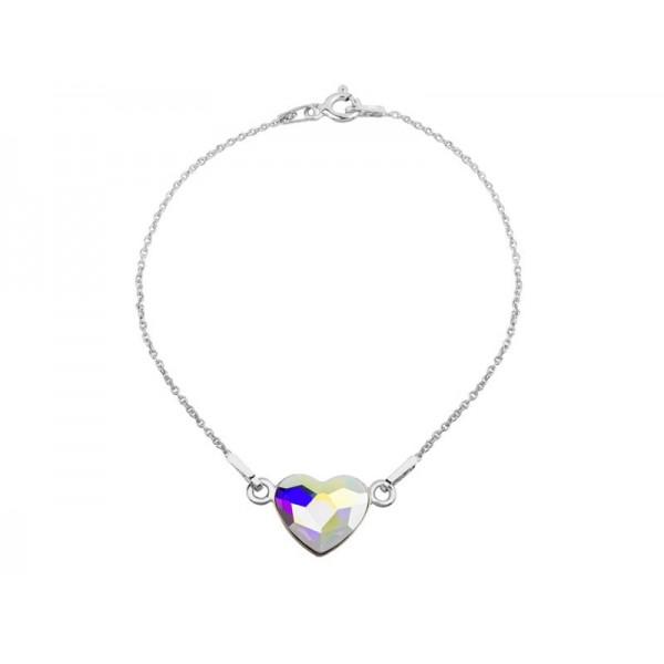Srebrna bransoletka SERCE celebrytka z kryształem Swarovski® AB