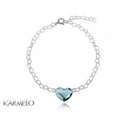 Bransoletka Serce z kryształem Swarovski® niebieski jeansowy BR101