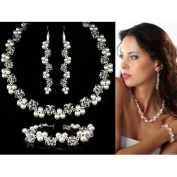Komplet ślubny  z kryształkami i perłami Swarovski® KP16