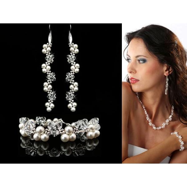 Komplet ślubny z kryształami i perłami Swarovski® KP26