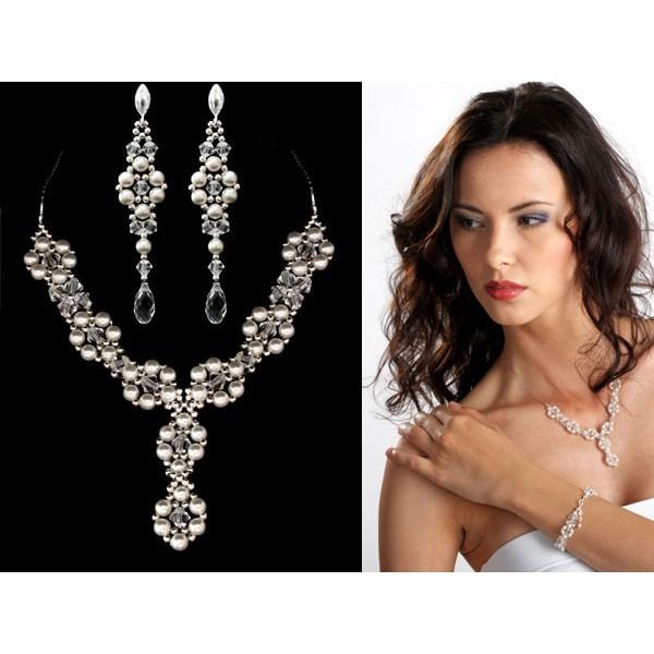 Biżuteria ślubna z perłami Swarovski® KP49