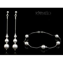 Biżuteria ślubna perły Swarovski ® srebro KP112