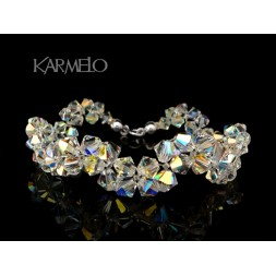 Biżuteria ślubna bransoletka z kryształkami Swarovskiego®  BR56 opalizująca