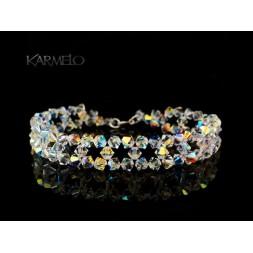 Biżuteria ślubna bransoletka z kryształkami Swarovskiego®  BR551 opalizująca