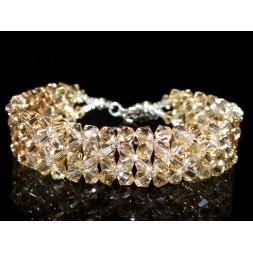 Biżuteria ślubna bransoletka kryształy Swarovski® BR52 golden shadow