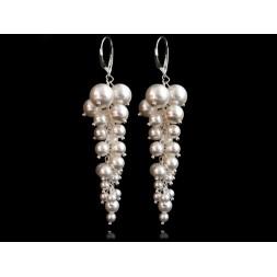 Biżuteria ślubna kolczyki grona 7,5 cm z perłami Swarovskiego® KR109
