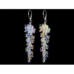 Biżuteria ślubna kolczyki grona 8 cm z kryształami Swarovskiego® KR111 AB