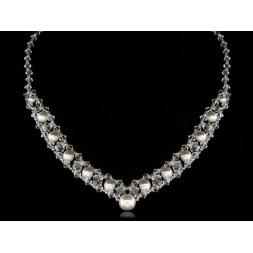 Biżuteria ślubna naszyjnik z kryształami i perłami Swarovskiego®s NK22