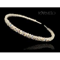 Opaska do włosów z kryształami Swarovski® AB opalizująca O1