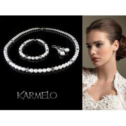 Komplet ślubny z perłami i kryształami Swarovski® KP23